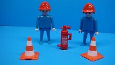 Playmobil 2 Firefighters figure man warning cone rescue klicky extinguisher 133