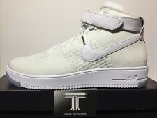 "Nike Air Force 1 Ultra Flyknit Mid ""BIANCO"" ~ Triple 817420 100 ~ UK 12"