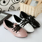 Fashion Lolita Womens Patent Leather Pointy Lace Up Shoes Casual Flats All us sz