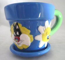 LOONEY TUNES Warner Bros 3D Kids Sylvester Tweety tea mug/cup blue 1996 w/saucer