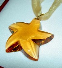 Authentic BACCARAT Large Star Crystal Amber Starlet 18K Pendant Necklace In Box