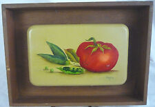 Vintage Oil Painting on Wood Wall Plaque Vegetables Tomato - Signed Jeanne 1977