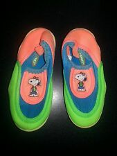 Baby Snoopy Peanuts Water Shoes  Aqua Swim Sz 8  Green Orange and Aqua  Fabric
