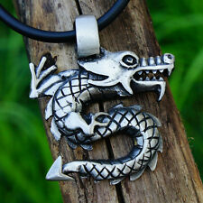 Dragon Fantasy Medieval Viking Pagan Wicca Magic Pewter Pendant w Black Cord