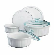 Corningware french white 7PC round set glass lid casserole paypal