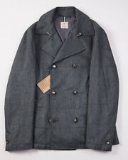NWT $1695 BORRELLI Herringbone Wool-Cotton-Cashmere Peacoat 50/M Outer Coat