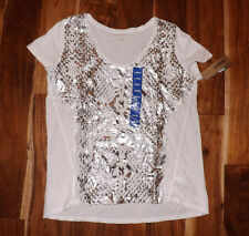 NWT Womens DKNY White Metallic Silver Snake Print Blouse Shirt Size M Medium