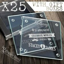 25 x Personalised Engraved Glass Wedding Coasters Favour Bomboniere Gift Custom