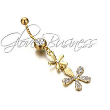Gold Plated Flower  Surgical Body Piercing Jewelry Navel Belly Button Bar Ring