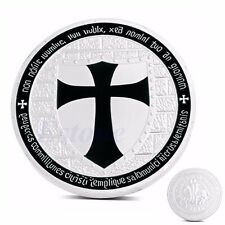 Silver Plated Knights Templar Cross Souvenir Commemorative Coin Collections Gift