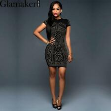 Elegant rhinestone women dress sexy black party bodycon dress Fashion club dress