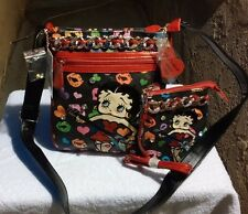 Betty Boop messenger with matching wallet red