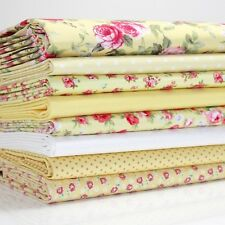 FQ Bundle - Yellow Rose Floral x 8 - Fat Quarter - Cotton Fabric Patchwork Quilt
