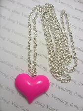 süß Hot Pink Liebe Herz Anhänger Halskette Mit 76.2cm Lang Silberfarben