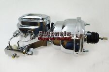"7"" Chrome Dual Brake Booster & Master Cylinder 1"" Bore Raised Cap Hot Rod 4 Port"