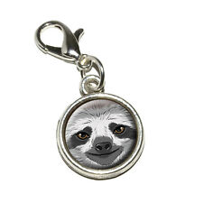 Sloth Face - Antiqued Bracelet Pendant Zipper Pull Charm with Lobster Clasp