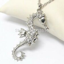 FREE GIFT BAG Silver Plated Rhinestone Crystal Seahorse Necklace Chain Jewellery