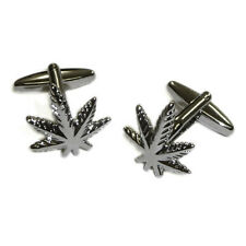 Smokers Leaf Cufflinks Cannabis Marijuana Ganja Smoke Hash Present Gift Box