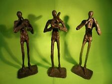 3 JAZZ MUSICIANS-WROUGHT IRON-ART STATUE- TALL & SLENDER- PLAYING TRUMPET & TUBA