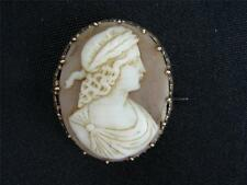 "VICTORIAN 1860'S 10K & SHELL PORTRAIT CAMEO  1 3/4"" X 1 1 /4"""