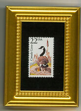 CANADA GOOSE GEESE - A COLLECTIBLE GLASS FRAMED POSTAGE MICRO MASTERPIECE!