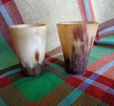 "PAIR: Antique Scottish Cow Horn Whisky Cup - Shot Glasses 2 3/4"" Nicely Matched!"