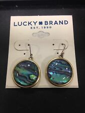 Lucky Brand Semi Precious Mystic Blue Abalone & Gold Dangles! NWT Dust Bag Fab