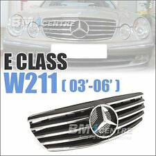 Front Mesh Grille Grill For Mercedes Benz E Class W211 2003-2006 Black AMG Sport