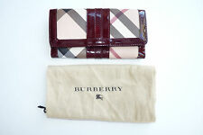 Burberry Super Nova Check Large Clutch Wallet Patent Leather Trim