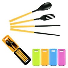 Yellow Portable Spoon Fork Chopsticks Plastic Reusable Tableware Set for Travel