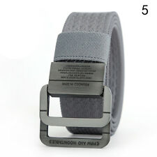 New Army Style Pin Buckle Military Mens Sports Canvas Belt Double Ring Waistband