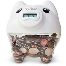 White Digital Piggy Bank Coin Savings Counter LCD Counting Money Jar Change Gift
