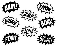 COMIC SPLASHES SUPERHERO CARTOON Kids Vinyl Wall Art Decal Lettering Words