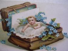 """A Happy Birthday to You"" Baby in a Leather Suitcase Unused Post Card Neat"