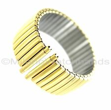 20-24mm Hadley Roma Smart22 Stainless Domed Shiny IP Gold Plated Watch Band 8015