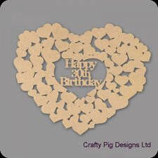 Happy 30th Birthday Heart Of Hearts - 3mm MDF Wooden Craft Blank Guest Book