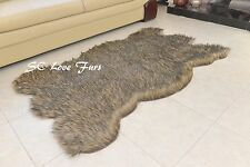 2' x 4' Black Tip Gray Coyote Plush Fur Rugs Bearskin Home Accents Rug Decor