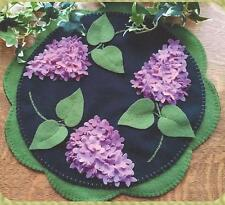 Lilac Beauty felted wool applique penny rug candle mat quilt pattern