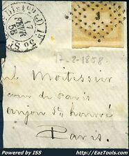 FRANCE EMPIRE N° 13 BEAU CACHET J BUREAU DE PARIS DU 17/02/1858 SUR FRAGMENT