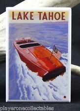 Lake Tahoe Vintage Travel Poster - Fridge / Locker Magnet. California Nevada