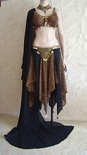 3 Piece Tribal Belly Dance Costume BLACK LEOPARD Bra Skirt Veil Gold Coins S M