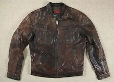 VTG LEVI'S RED TAB CAFE RACER STYLE BROWN LEATHER JACKET MOTORCYCLE LONG 42