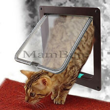 Brown 4 Way Small Medium Pet Cat Kitten Dog Supply Lock Lockable Safe Flap Door