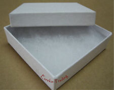 """Jewelry Boxes 100 Swirl White Cotton Filled Gift 3 ½"""" X 3 ½"""" x 1"""" Two Piece"""
