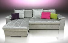 NEW!!! SILVER CRUSHED VELVET, CORNER SOFA BED MIKE, LARGE BED, UNIVERSAL HAND