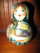 Russian Rolly Polly Music Loud Bell Inside Wooden Doll Russian Nevolyashka
