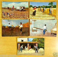 Wheat Farming in Italy 5 Postcards Artist Signed FB c.1907 SEED SOW HARVEST MILL