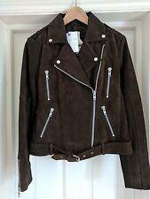 Gestuz via Asos Daya Suede Leather Biker Jacket Brown Size 8 36 - NWT