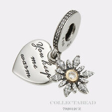 Authentic Pandora Silver & 14K Gold Snowflake Heart Clear CZ Bead 792012CZ