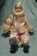 "Vintage Beautiful 17""Porcelain Harlequin Jester Doll"